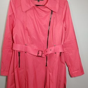 Black Rivet Hot Pink Trench Coat Belted XXL